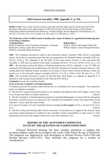 Report of the Ad-Interim Committee to Study the Question of ...