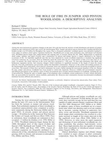 the role of fire in juniper and pinyon woodlands - Sagebrush Steppe ...