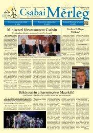 Miniszteri fórumsorozat Csabán - Csabai Mérleg