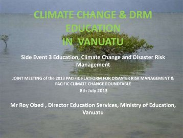 CLIMATE CHANGE EDUCATION IN VANUATU - Solution Exchange
