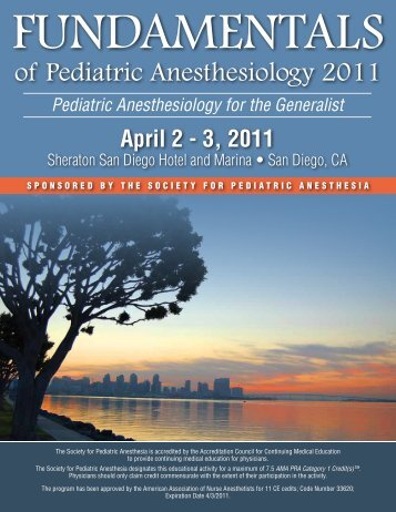 of Pediatric Anesthesiology 2011 - The Society for Pediatric ...