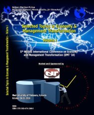 SELECTED TOPICS in ECONOMY and MANAGEMENT ... - Wseas.us