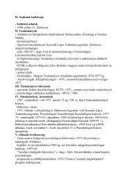 Szakmai önéletrajz - DE Pszichológiai Intézet - Debreceni Egyetem