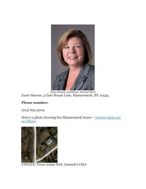 Janet Hasson, 3 Gate House Lane, Mamaroneck     - Hour of the Time