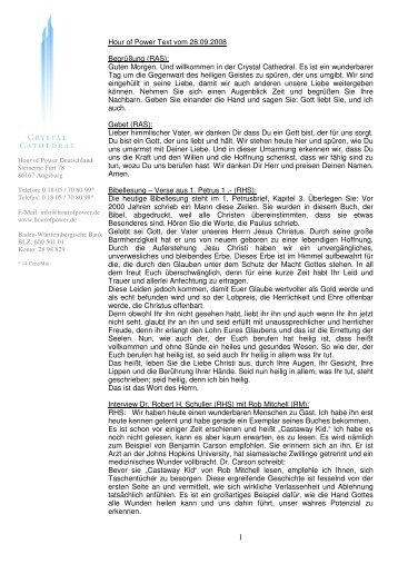 Hour of Power Text vom 28.09.2008 Begrüßung (RAS): Guten ...