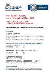 FESTVERANSTALTUNG am 31. JULI und 1. AUGUST 2013 - dfb
