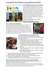 Ferienspaß für über 450 Kinder und Jugendliche im Jahr 2012