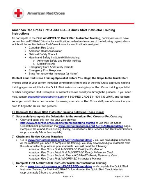 American Red Cross First Aid/CPR/AED Quick ... - Instructor's Corner