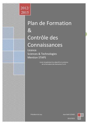 Plan de Formation & Contrôle des Connaissances - Faculté des ...