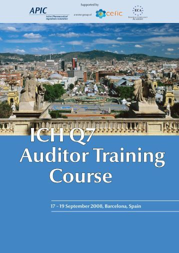 ICH Q7 Auditor Training Course - Active Pharmaceutical Ingredients ...