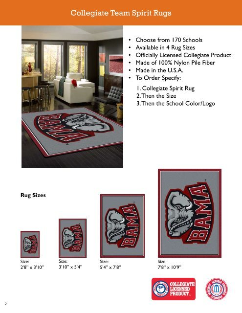 Collegiate Team Spirit Rugs - Bolick Distributors