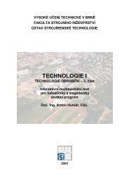 HUMÁR, A. TECHNOLOGIE OBRÁBĚNÍ - 3. část, 2003 - VUT UST ...