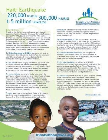 Earthquake in Haiti Fact Sheet - Friends of the Orphans