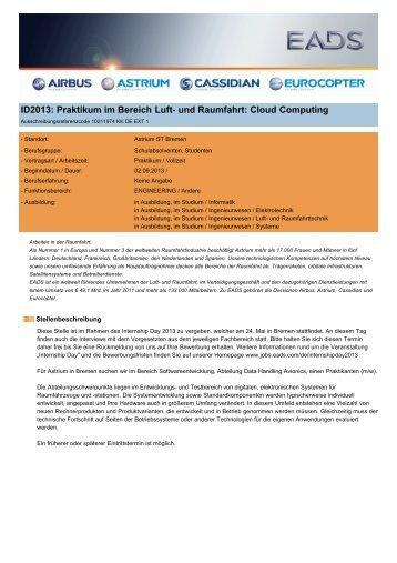 ID2013: Praktikum im Bereich Luft- und Raumfahrt: Cloud Computing