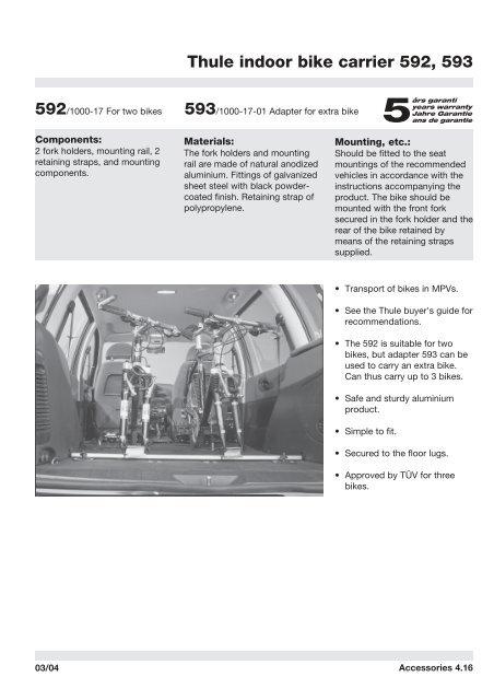 Thule indoor bike carrier 592, 593