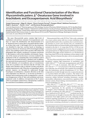 Identification and Functional Characterization of the Moss ...