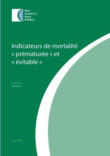 Indicateurs de mortalité « prématurée » et « évitable »