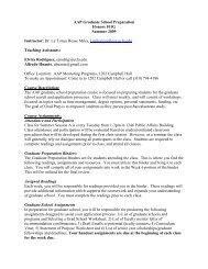 Ideas for McNair Spring 2005 - Division of Undergraduate Education