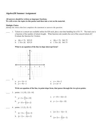 algebra summer assignment  algebra 2 h summer assignment morristownhighschool org