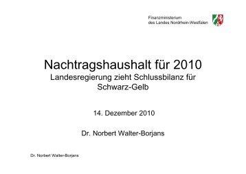 Nachtragshaushalt 2010 A (2)b - Finanzministerium NRW