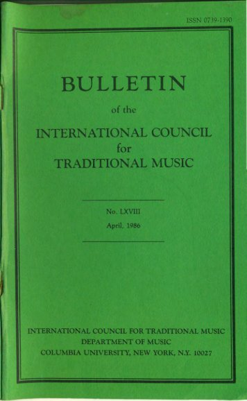Apr 1986 - International Council for Traditional Music