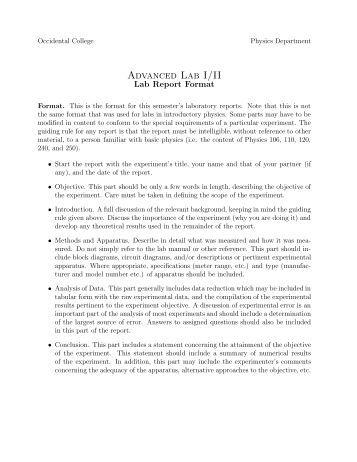 sample college lab report