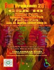 Fall Program Dates - Minneapolis Park and Recreation Board