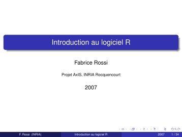 Introduction au logiciel R - Fabrice Rossi