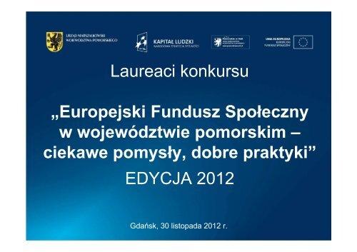Europejski Fundusz Społeczny w województwie pomorskim ...