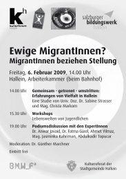 Ewige MigrantInnen? - Plattform für Menschenrechte Salzburg