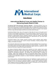 International Medical Corps and Agility Partner in Delivering Quake ...