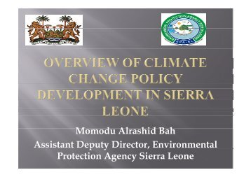 Overview of climate change policy development in Sierra Leone