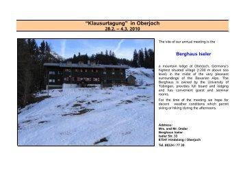 in Oberjoch 28.2. 4.3. 2010 - Institut für Angewandte Physik