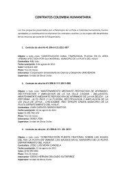 CONTRATOS COLOMBIA HUMANITARIA - La Plata