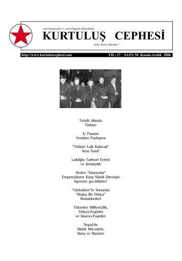 Kurtuluş Cephesi, Sayı: 94, Kasım-Aralık 2006