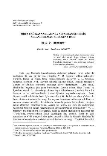 İlya V. Zaytsev, Orta Çağ Kaynaklarında Astarhan ... - Ege Üniversitesi