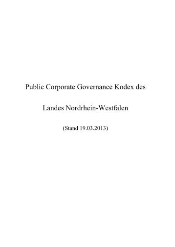 Corporate Governance Kodex - Finanzministerium NRW