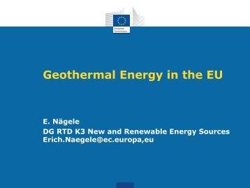 Geothermal Energy in the EU - GROUND-MED project