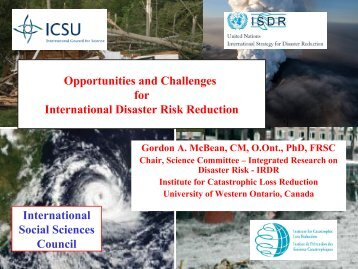 Opportunities and Challenges of the International Disaster Reduction