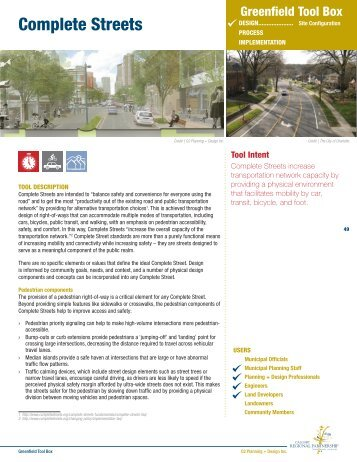 Complete Streets - The Greenfield Tool Box