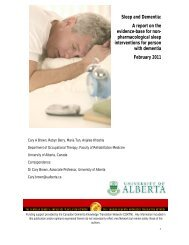 Sleep and Dementia: - Canadian Dementia Resource and ...
