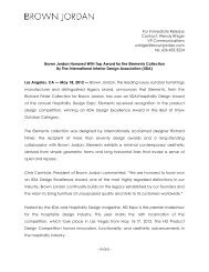 May 18, 2012 Elements Collection Receives IIDA ... - Brown Jordan
