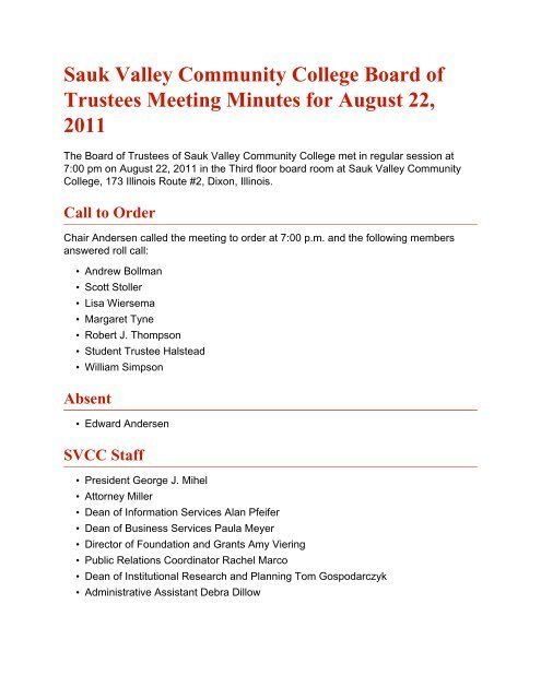 Sauk Valley Community College Board of Trustees Meeting Minutes