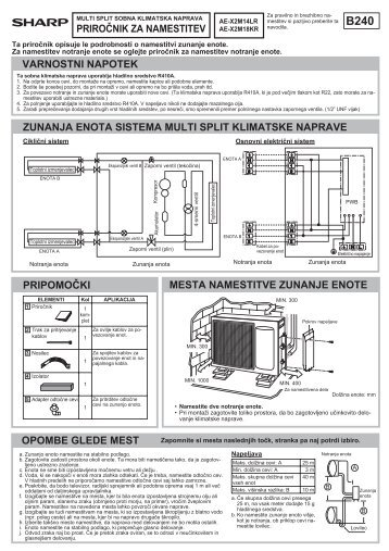 AE-X2M14LR/X2M18KR Operation-Manual Installation ... - Sharp