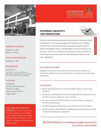 Fostering Creativity and innovation - University of Calgary