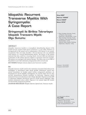 Idiopathic Recurrent Transverse Myelitis With Syringomyelia: A ...