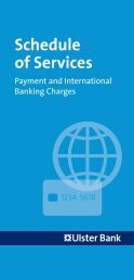 Payment and International Banking Charges - Ulster Bank