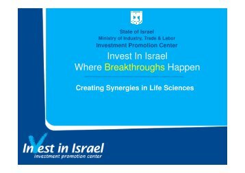 (Microsoft PowerPoint - Creating Synergies in Life ... - Invest in Israel