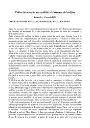Il libro bianco e la sostenibilità del sistema del welfare - forum ...