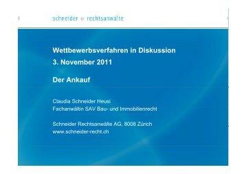 Wettbewerbsverfahren in Diskussion 3. November 2011 Der Ankauf